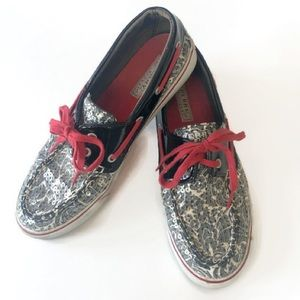 Sperry Topsider Black/White Floral Sequin Shoes